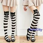 Cute Mock Knee High Cat Kitty Tattoo Striped Tights Stocking Pantyhose Animal