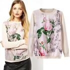 B5T Chinese Style Autumn Women Long Sleeve Floral Knitwear Pullover Sweater Tops