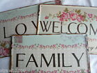Metal Shabby Chic Distressed Vintage Retro Door Wall Sign Love Welcome Family