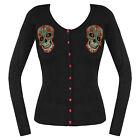 Banned Black Knitted Tattoo Sugar Skull Rockabilly Cardigan Jumper Knitwear Top