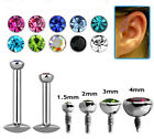 1 Flat Gem Labret Tragus Ear  Internally Threaded 16g 6mm 8mm Choose Gem Size #3