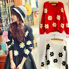 CHIC Womens Daisies Print Pullover Sweater Sunflower Jumper Knit Coat Top Blouse