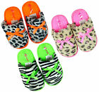 Girl's Neon Trim Animal Print Fluffy Slippers Leopard Zebra Shoe Sizes 10-2 NEW