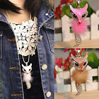 CHIC Shinny Crystal Feather Fox Pendant Necklace Rhinestone Long Sweater Chain