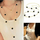 CHIC Trendy Style Lady Enamel Lucky Four Leaf Clover Pendant Long Chain Necklace