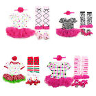 New Infant Baby Girl Stirnband+Romper+Beinwärmer+Schuhe Sets Outfit Cotton Tulle