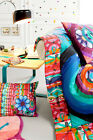 New Desigual Designer Handflower Quilted Throw Rug/Round Cushion Cot Coverlet
