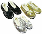 Women's Faux Fur Lined Sequin Ballet Style Slipper with Bow Shoe Size 3-8 NEW