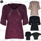 Womens Ladies V Neck Knitted Baggy 3/4 Batwing Sleeve Sweater Jumper Poncho Tops
