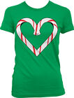 Candy Cane Heart Love Holiday Merry Christmas X-Mas Holiday Girls Junior T-Shirt