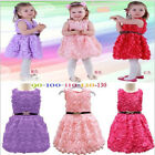Xmas Baby Kids Girls Princess Full Rose Flower Lace Belt Party Gown Formal Dress