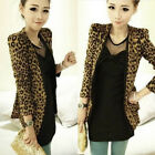 Casual Women Long Sleeve Leopard Slim Fit Blouse Tops Coat Jacket Cardigan UK