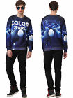 Men's Fashion 3D Print Round Neck Long Sleeve Sweatershirt Hoodie Pullover Tops