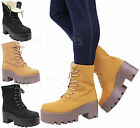 Ladies Womens High Platform Heel Lace Up Grip Fur Combat Biker Ankle Boots Size