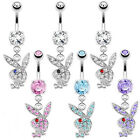 Genuine Playboy Paved Gem Bunny Dangle Belly Bar 14g  10mm - Choose Colour  #PB2