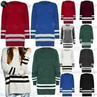 Womens Ladies Chunky Knitted Oversized Stripes Long Sweater Jumper Dress Top