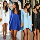 Chiffon Casual Top Shirt Women Asymmetrical Hem Open Sleeve Summer Dress S01