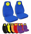 2 Front Smiley Face Velvet Seat Covers with 9 Color Options