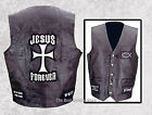 Mens Black Leather Christian Cross Jesus Forever Motorcycle Vest Religious