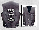 Mens Black Leather Christian Cross Jesus Forever Religious Motorcycle Vest Biker