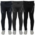 Mens Jogging Skinny Fit Pants Waffle Textured Bottoms Sweat Trouser Joggers Zip
