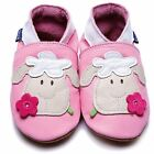 Inch Blue Girls Baby Luxury Leather Soft Sole Pram Shoes - Sheep Pink