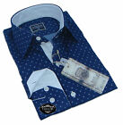 Brand New Mens Casual Grey Blue and White Collar Patterned Slim Fit Shirt Cotton