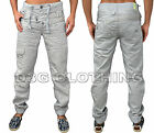 Mens Designer ETO Jeans Jogger Combat Regular Fit Cuffed Tapered Leg Chino Pants