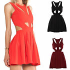 Women Ladies Cut-Out Zip Back Pleated Skater Flares Party Sexy Dress Top 8-14