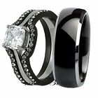 Great His Titanium Hers Black Stainless Steel Wedding Engagement Ring Band Set