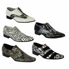 Mens Formal Italian Shoes Casual Office Lace Up Slip On Gold Foil Party Wedding