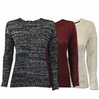 Ladies Knitted Jumpers Womens Heart & Soul Sweater Sequin Pullover Zip Crew Neck