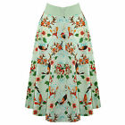 Green Tropical Floral 50s Vintage Pinup Flared Swing Skirt