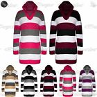 Womens Ladies Cricket Blocks Stripes Knitted Hoodie Mini Dress Hooded Jumper Top