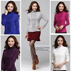 100% COTTON  Women Long Sleeve High Neck Stretched Tops Lady Slim T-Shirt Blouse