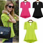 New Chiffon Asymmetrical Women Waisted Puff Short Sleeve Peplum Top T-shirt Y697