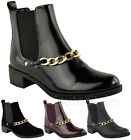 Ladies Women Flat Mid Heel Pull On Stretch Chelsea Gusset Ankle Boots Shoes Size