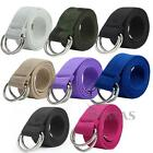 Mens Womens Canvas Belt with Double D Ring Metal Buckle Fashion New
