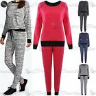 Womens Ladies Plain Melange Sweatshirt Top Jogging Pant Bottom Jogsuit Tracksuit