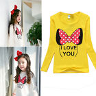 NEW Long Sleeve Cute Minnie Love You Baby Kids Girls T-shirt Tops Clothing 2-8Y