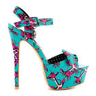 Iron Fist Love Me Now Turquoise Rockabilly High Heel Platform Sandals Shoes