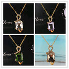 Trendy 14k Gold Filled Austrian Crystal Pendant Necklace Jewelry In 6 Colors