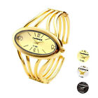 Womens Lady Oval Gold-Tone Bangle Cuff Bracelet Analog Quartz Wrist Watch