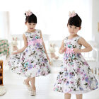 Chic Girls Kids Princess Wedding Party Purple Flower Bow Gown Full Dresses 2-7T