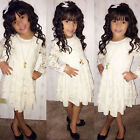 2015 Girls Casual Dress Kids Baby Lace Princess Tulle Tutu Party Dress Skirt UK
