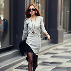 Autumn Winter Womens Long Sleeve Cotton Bodycon Slim Party Sweater Mini Dress