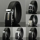 MENS REAL LEATHER AUTOMATIC BUCKLE BUSINESS SUIT TROUSER WAIST BELT UK