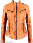 Diana Ladies Tan Croc Biker Genuine Real Nappa Leather Fitted Style Jacket