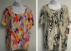 NEW-JM COLLECTION WOMEN PLUS SIZE PRINTED TEXTURED  KNIT TOP BLOUSE-$38
