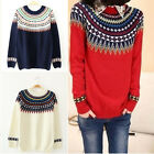 2015 Bohemia Round Neck Long Sleeve Knitted Pullover Jumper Sweater Knitwear Top